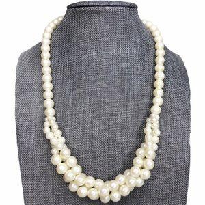 Vintage Twisted Pearl Bib Statement Necklace